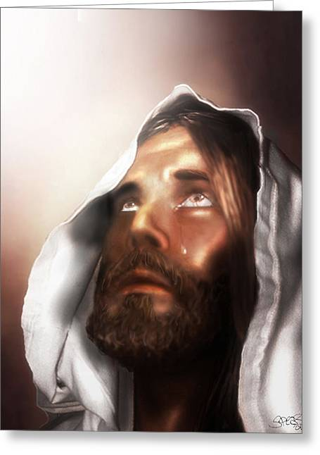 Kinkade Mixed Media Greeting Cards - Jesus Wept Greeting Card by Mark Spears