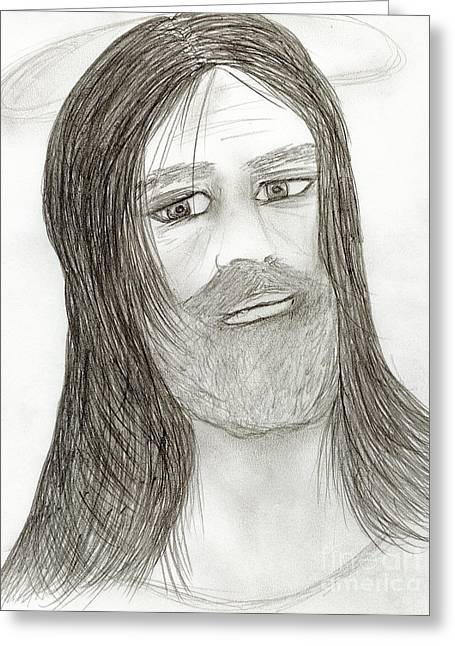 Jesus With Halo Greeting Card by Sonya Chalmers