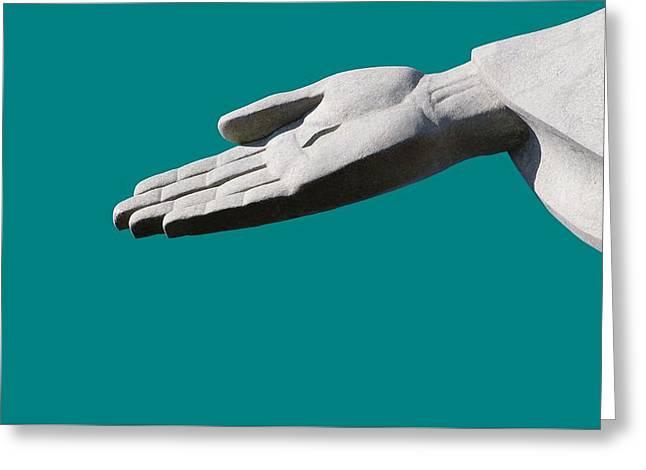Praying Hands Greeting Cards - Jesuss Hand Greeting Card by Monotoomono