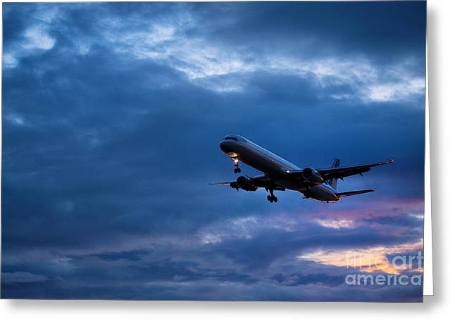 Jet Greeting Cards - Jet airlpane in flight Greeting Card by John Greim
