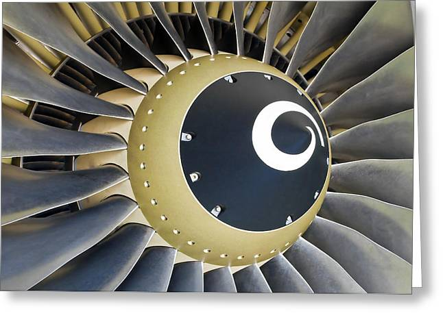 Aircraft Engine Greeting Cards - Jet engine detail. Greeting Card by Fernando Barozza