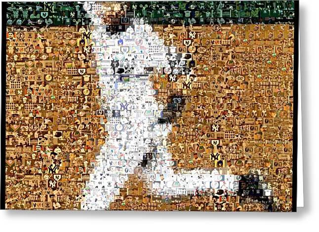 Jeter Walk-Off Mosaic Greeting Card by Paul Van Scott