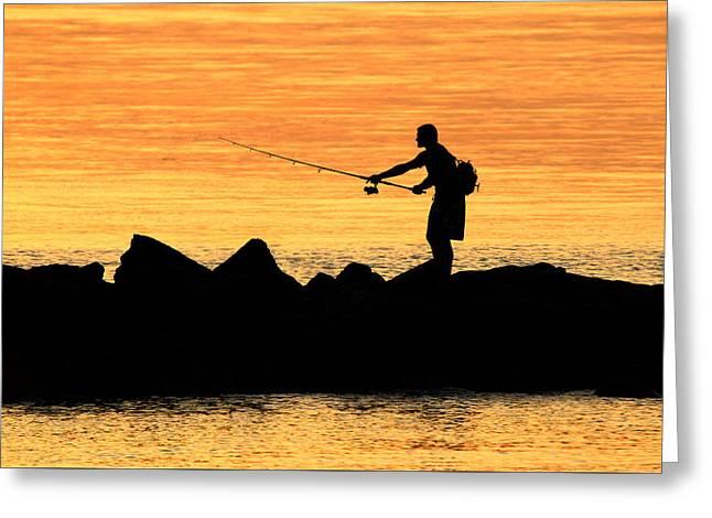 York Beach Greeting Cards - Jetty Fisherman Mt Sinai New York Greeting Card by Bob Savage