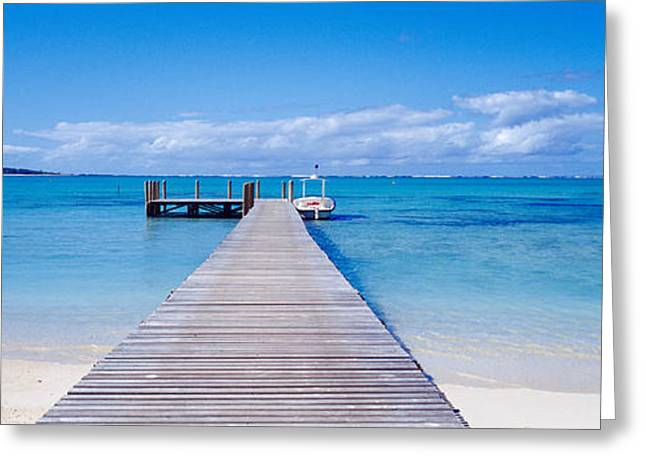 Jetty On The Beach, Mauritius Greeting Card by Panoramic Images