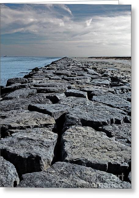 Ocean Landscape Greeting Cards - Jetty Over the Coast Greeting Card by Tom Gari Gallery-Three-Photography