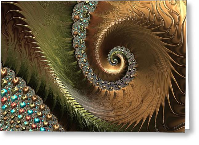 Jewel And Spiral Abstract Greeting Card by Marianna Mills