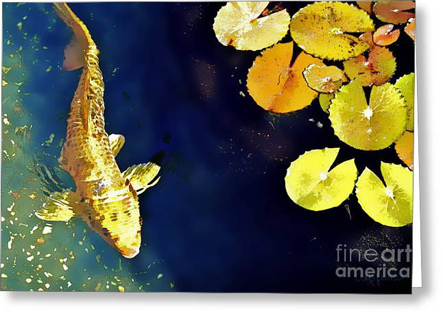 Koi Pond Greeting Cards - Jewel of the Water Greeting Card by Barb Pearson