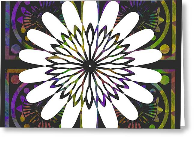 Geometric Art Greeting Cards - Jewel Tones and A White Flower Greeting Card by Kathy Franklin