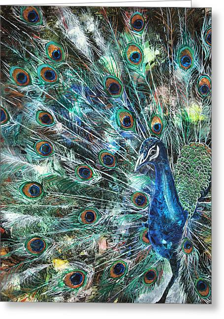 Peacock Greeting Cards - Jeweled Greeting Card by Patricia Allingham Carlson