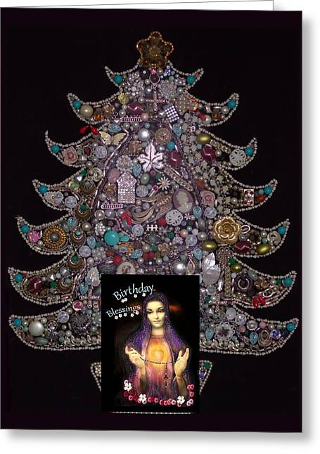 Jeweled Tree Birthday Blessings Greeting Card by Myrna Migala