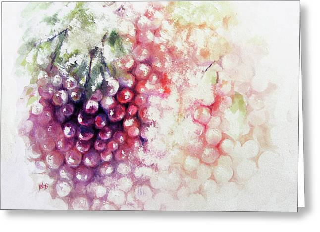 White Grape Greeting Cards - Jewels on the vine Greeting Card by Rachel Christine Nowicki