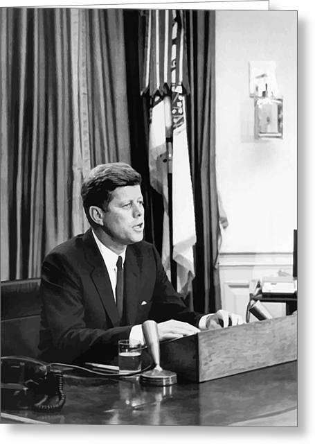 Crisis Of Leader Greeting Cards - JFK Addresses The Nation  Greeting Card by War Is Hell Store