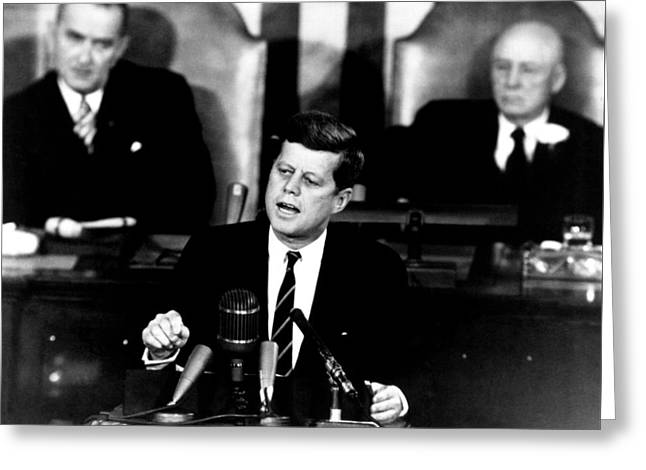 Jfk Announces Moon Landing Mission Greeting Card by War Is Hell Store