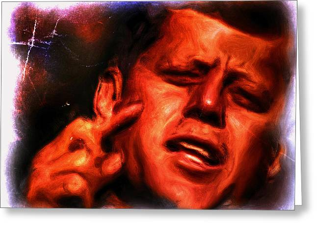 President Obama Greeting Cards - Jfk Greeting Card by Brian Reaves