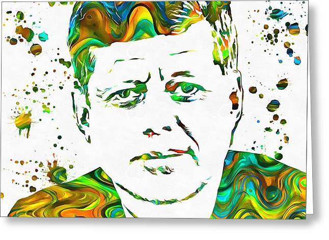 Jfk Paint Splatter Greeting Card by Dan Sproul