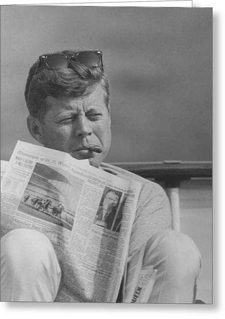Democrat Photographs Greeting Cards - JFK Relaxing Outside Greeting Card by War Is Hell Store