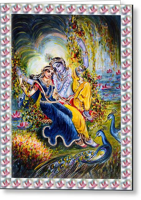 Religious Greeting Cards - Jhula Leela Greeting Card by Harsh Malik