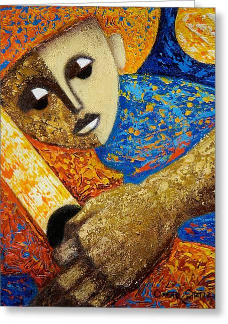 Jibaro Y Sol Greeting Card by Oscar Ortiz