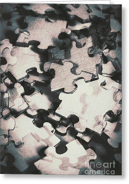 Jigsaws Of Double Exposure Greeting Card by Jorgo Photography - Wall Art Gallery