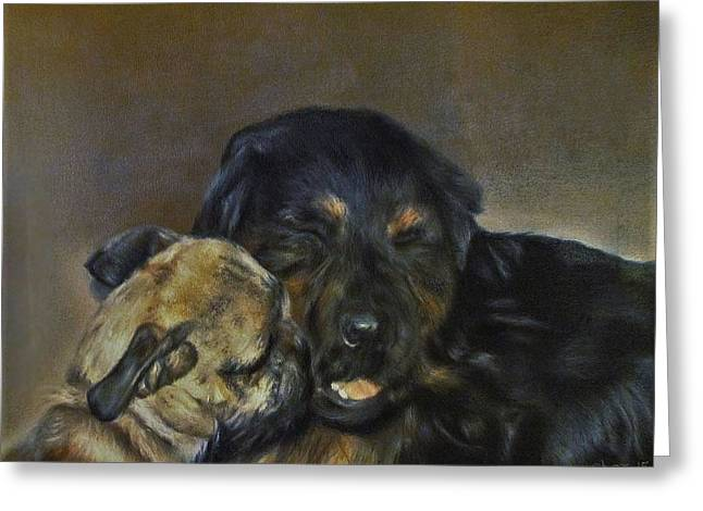 Photo Realism Greeting Cards - Jim and Ozzy Greeting Card by Cherise Foster