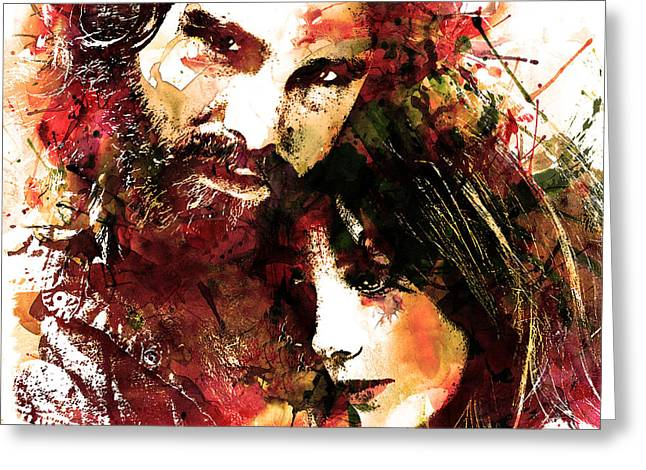 Man And Woman Greeting Cards - Jim and Pam in Watercolor Greeting Card by Marian Voicu