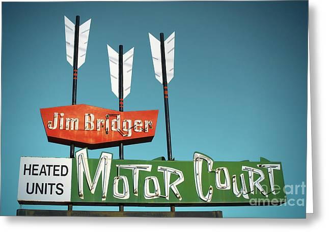 Jim Bridger Greeting Cards - Jim Bridger Motor Court Greeting Card by Chris  England