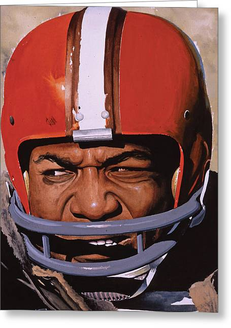 Action Sports Portrait Greeting Cards - Jim Brown Greeting Card by Rich Marks