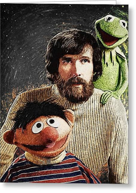 Jim Henson Together With Ernie And Kermit The Frog Greeting Card by Taylan Soyturk