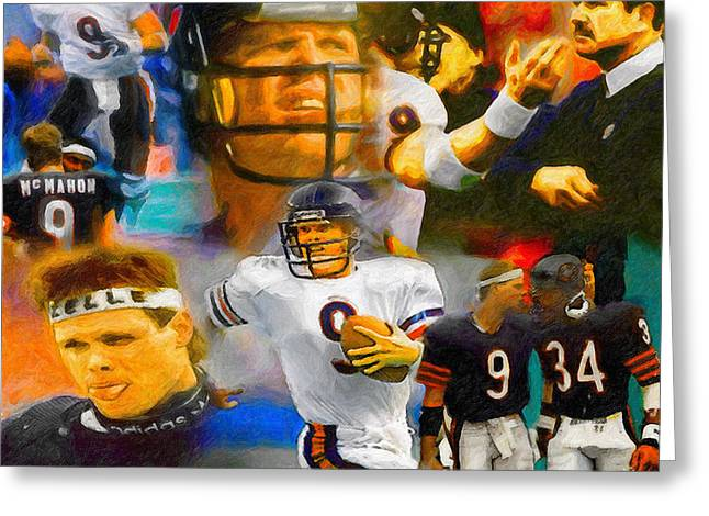 National Football League Paintings Greeting Cards - Jim McMahon Collage Greeting Card by John Farr