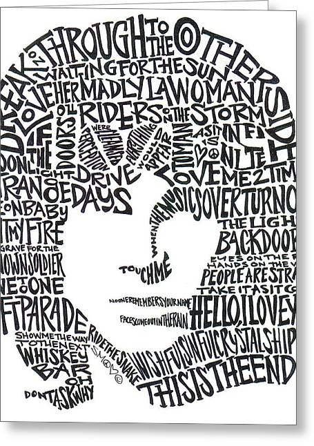 Word Portrait Greeting Cards - Jim Morrison Black and White Word Portrait Greeting Card by Kato Smock