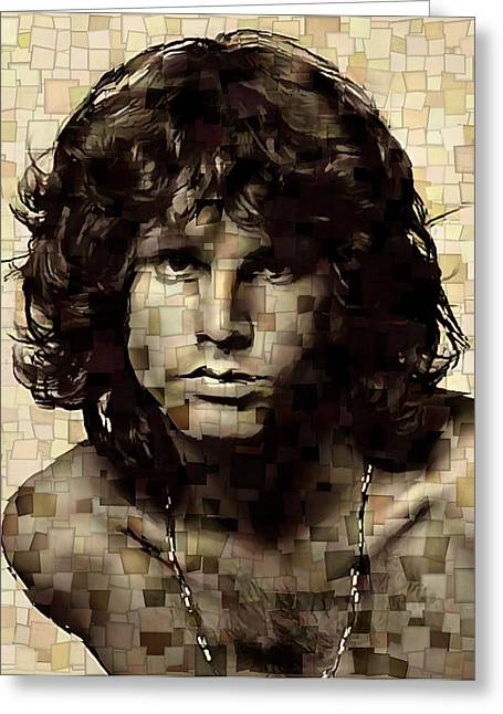 Backdoor Greeting Cards - Jim Morrison Cubism Greeting Card by Dan Sproul