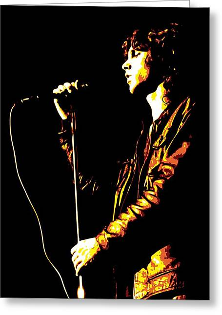 Orange Greeting Cards - Jim Morrison Greeting Card by DB Artist