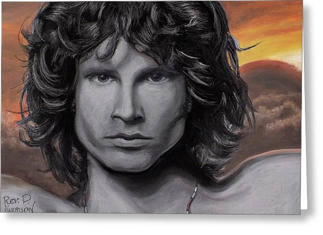 King Pastels Greeting Cards - Jim Morrison Greeting Card by Dennis Jones