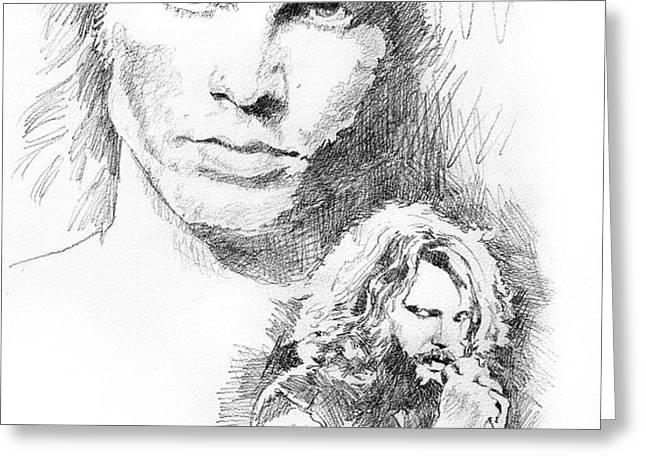 Jim Morrison Faces Greeting Card by David Lloyd Glover