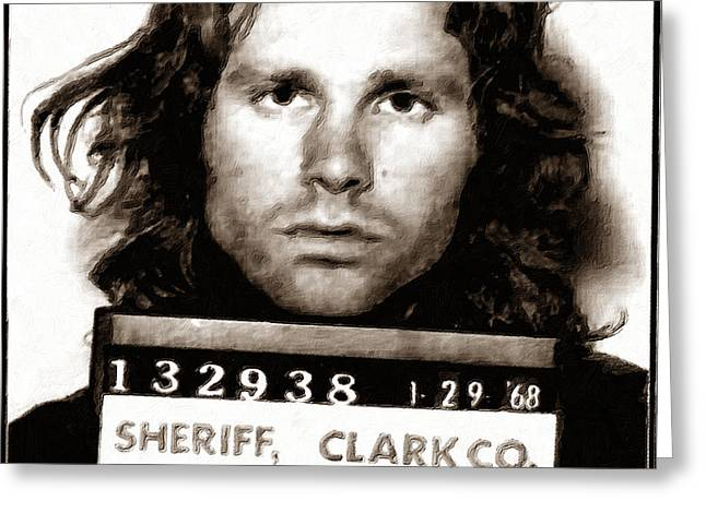 Jim Morrison Mug Shot 1968 Painting Sepia Greeting Card by Tony Rubino