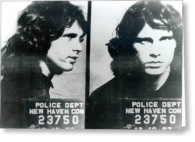 Jim Morrison Mug Shot Horizontal Greeting Card by Tony Rubino
