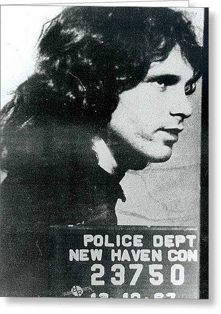 Jim Morrison Mug Shot Profile Vertical Greeting Card by Tony Rubino