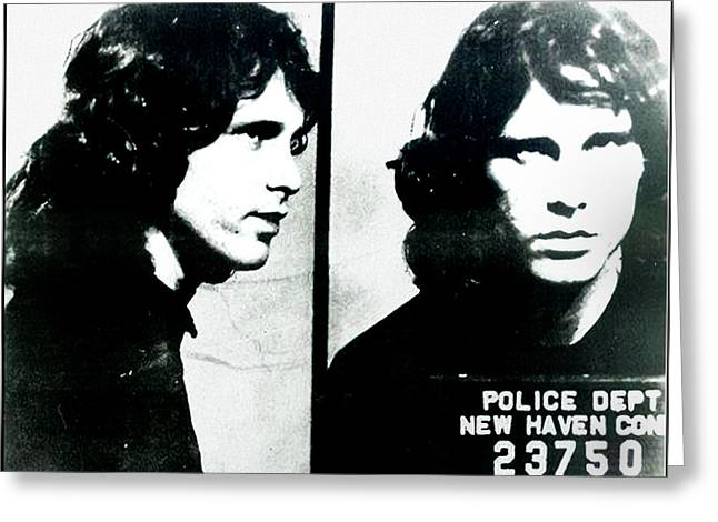 Jim Morrison Mugshot - New Haven Connecticut Greeting Card by Bill Cannon