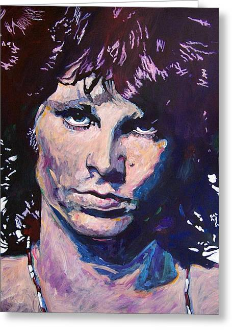 People Paintings Greeting Cards - Jim Morrison the Lizard King Greeting Card by David Lloyd Glover