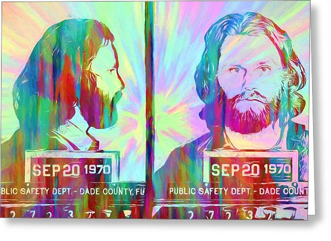 Jim Morrison Tie Dye Mug Shot Greeting Card by Dan Sproul
