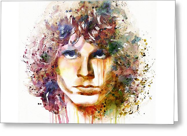 60s Music Greeting Cards - Jim Morrison watercolor Greeting Card by Marian Voicu