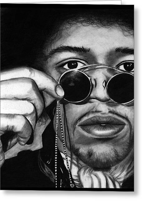 Jimi Hendrix Drawings Greeting Cards - Jimi Greeting Card by Alycia Ryan