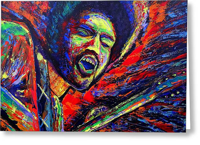 Gypsy Band Greeting Cards - Jimi and the Blue Flames Greeting Card by Jeremy Smith