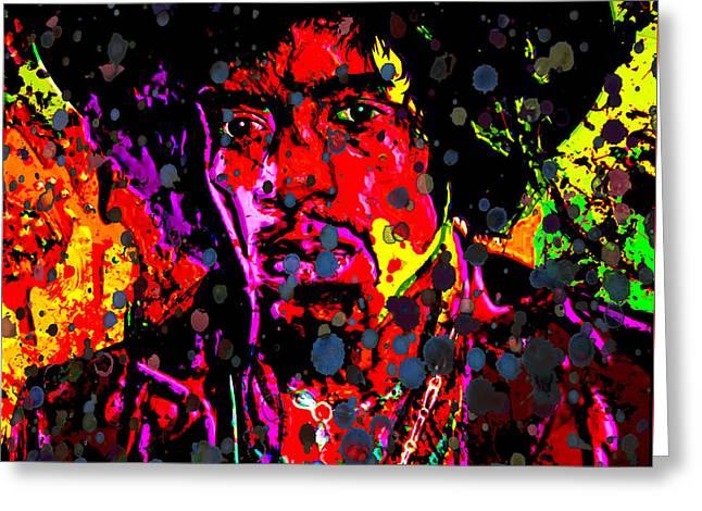 Johnny Allen Hendrix Greeting Cards - Jimi Hendrix Acid Rain Greeting Card by Brian Reaves