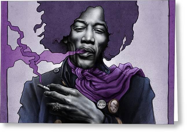Jimi Hendrix Greeting Card by Andre Koekemoer