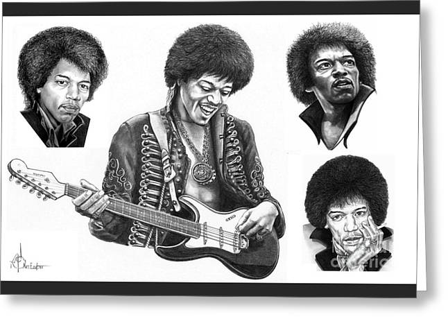 Jimi Hendrix Drawings Greeting Cards - Jimi Hendrix collage Greeting Card by Murphy Elliott