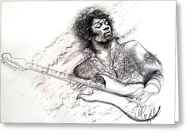 Jimi Hendrix Drawing Greeting Card by Maja Sokolowska