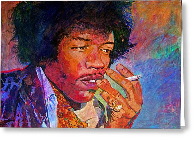 Psychedilic Greeting Cards - Jimi Hendrix Dreaming Greeting Card by David Lloyd Glover