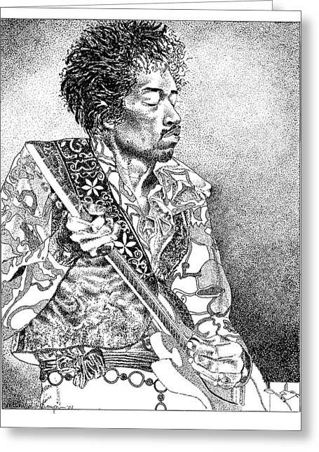 Musicans Greeting Cards - Jimi Hendrix Greeting Card by Edith Thompson