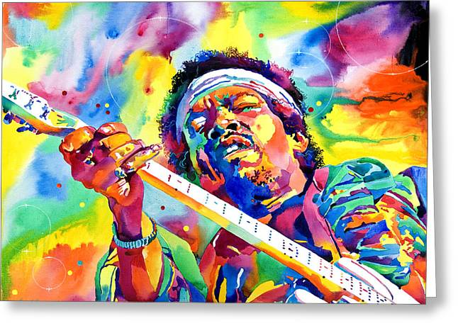 Jimi Hendrix Paintings Greeting Cards - Jimi Hendrix Electric Greeting Card by David Lloyd Glover